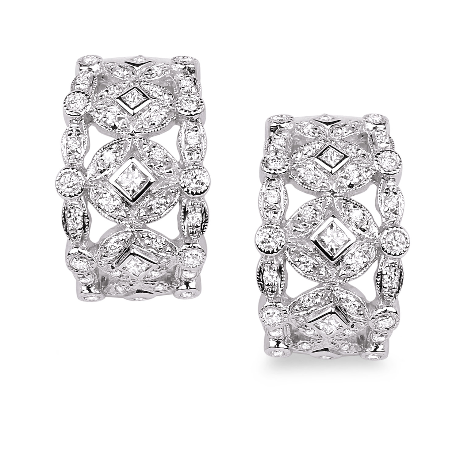 Diamond Hoop Earrings SGE254 (Earrings)