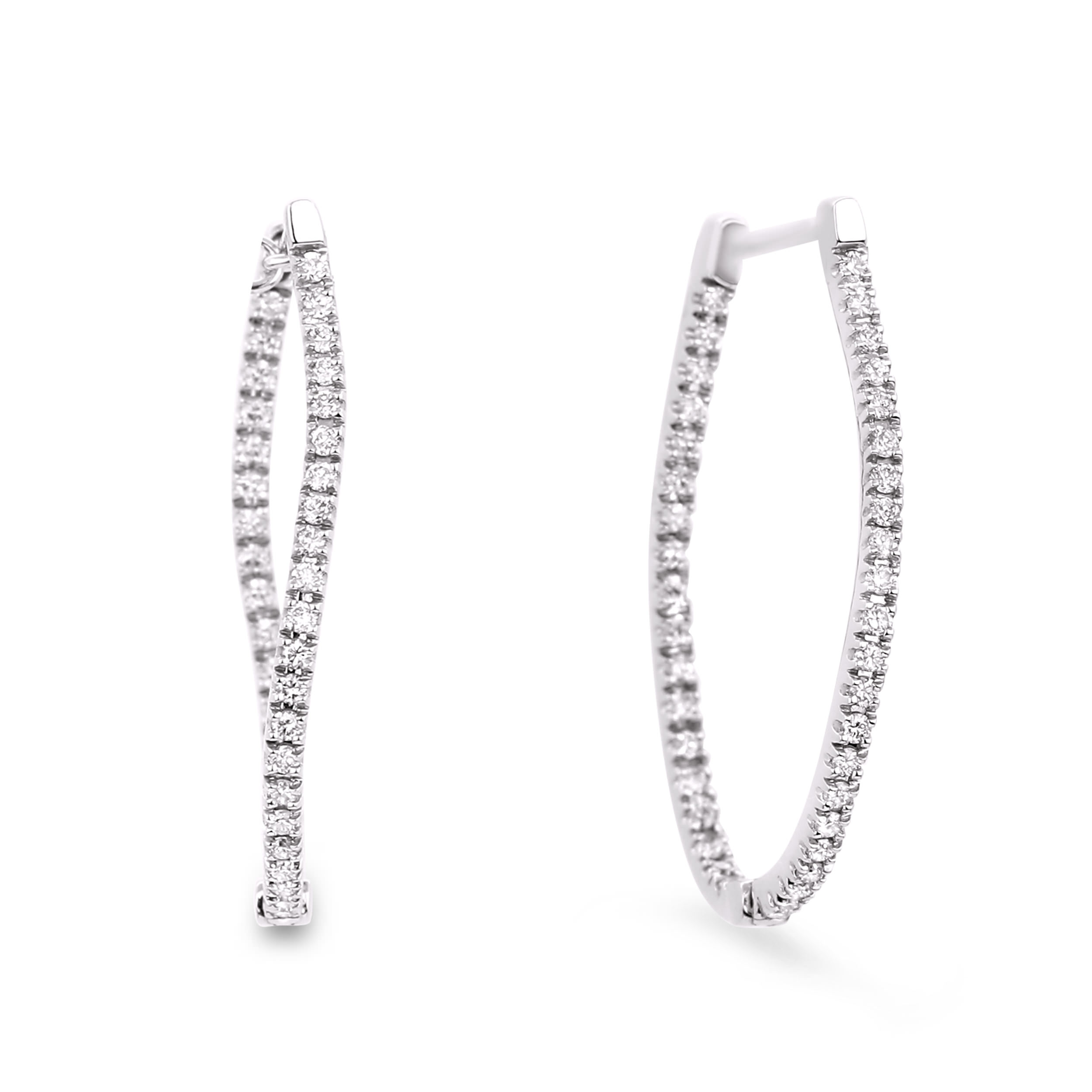 Diamond Hoop Earrings SGE118 (Earrings)