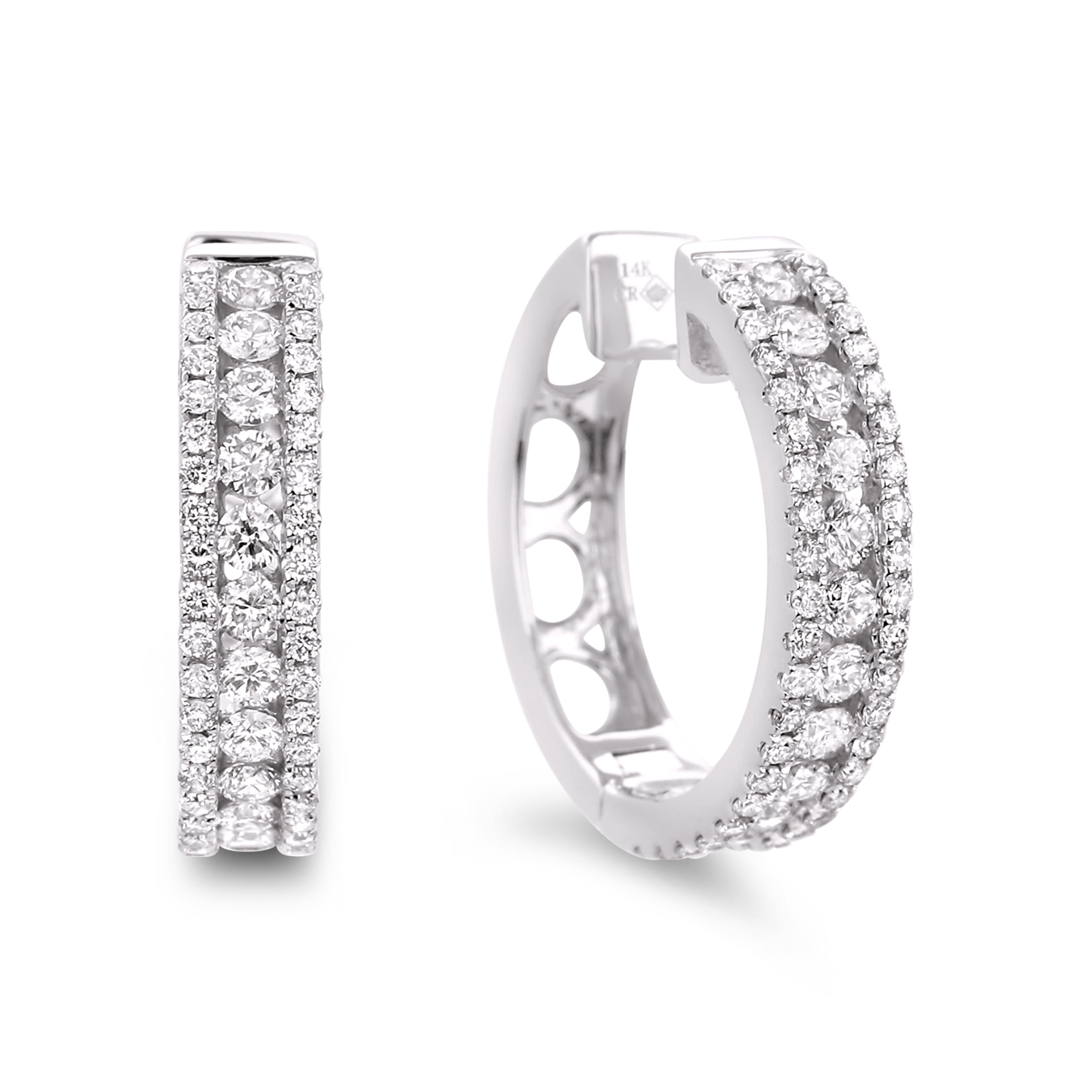 Diamond Hoop Earrings SGE101 (Earrings)