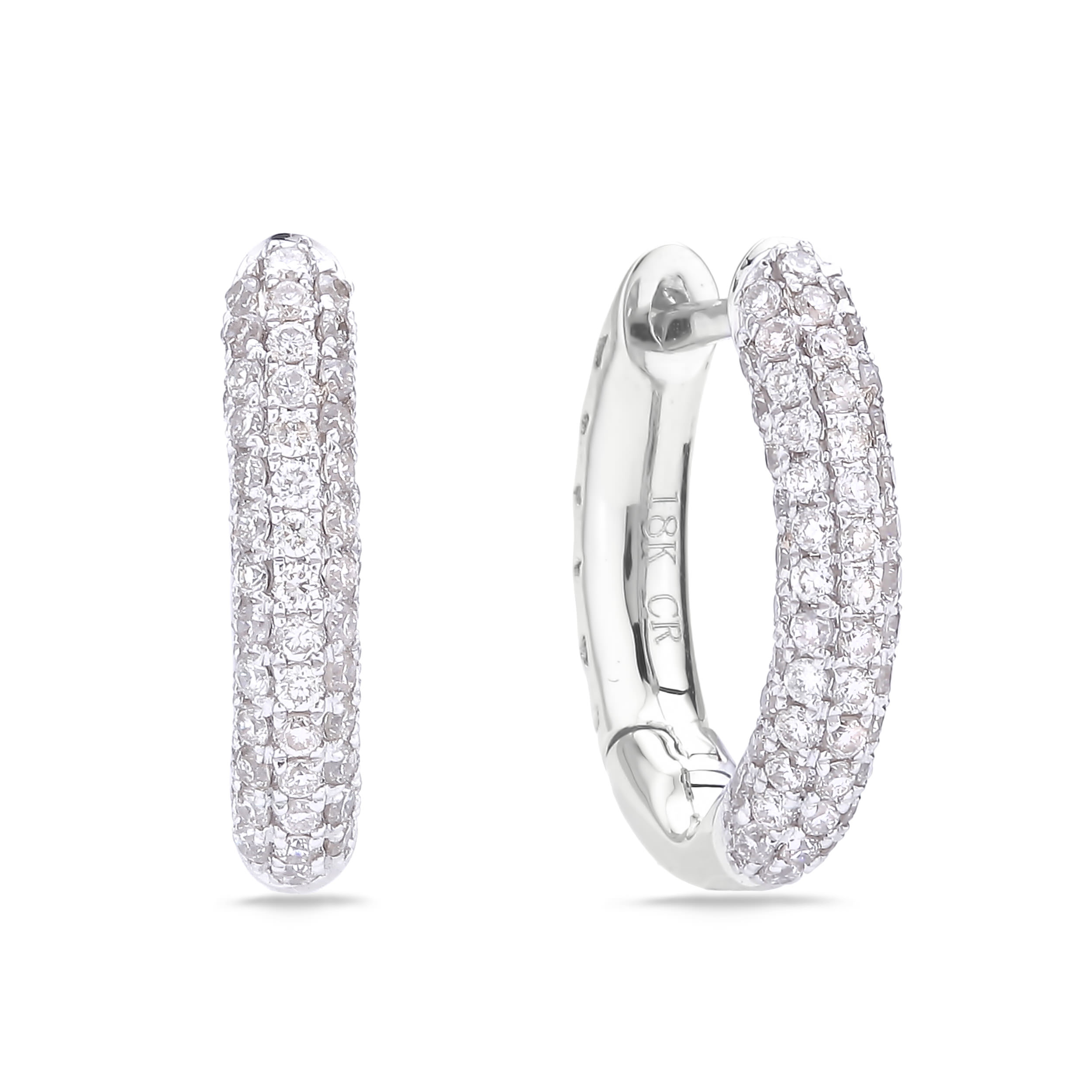 Diamond Hoop Earrings SGE266T (Earrings)