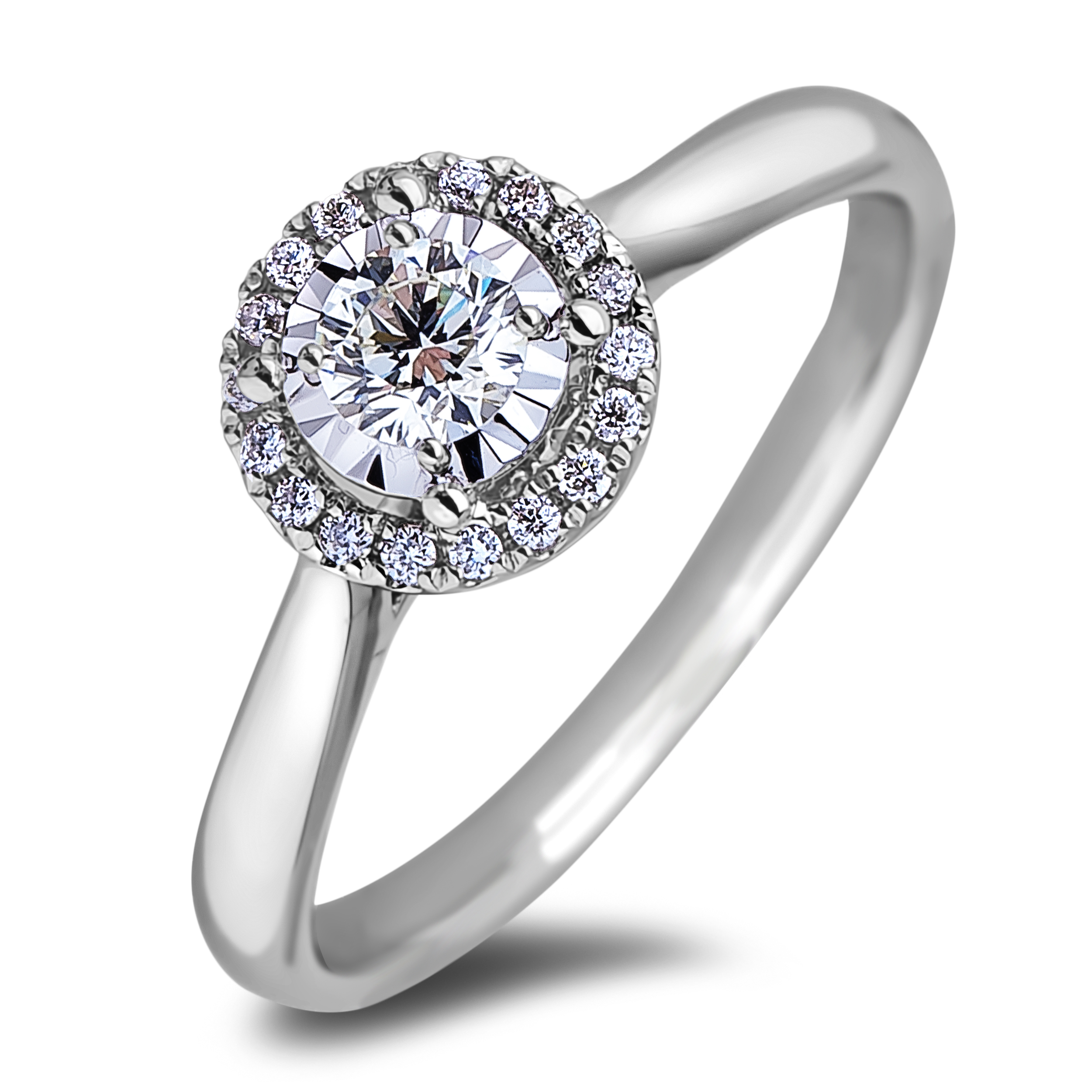 Diamond Engagement Halo Rings JS_AFCR1121020 (Rings)