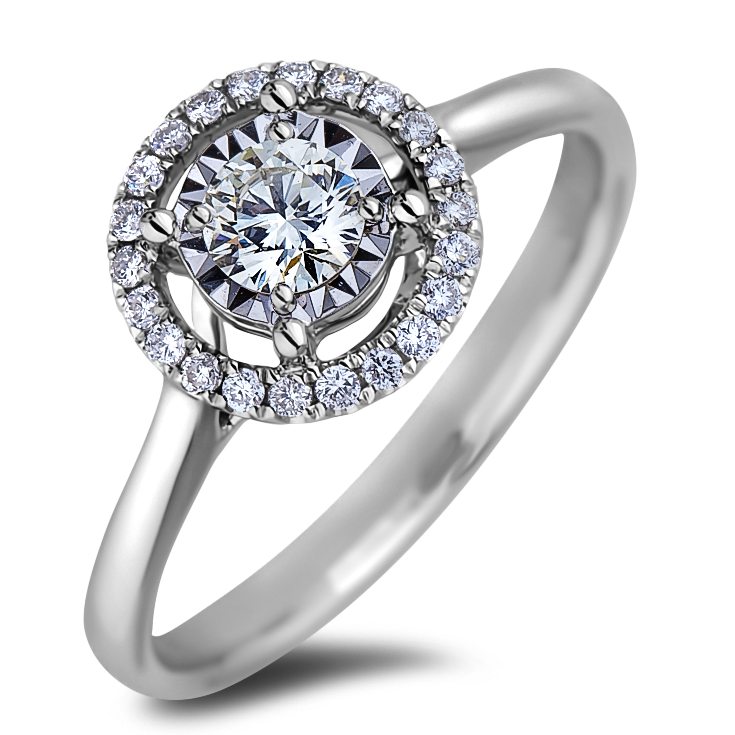 Diamond Engagement Halo Rings JSL_AFCR1423035 (Rings)