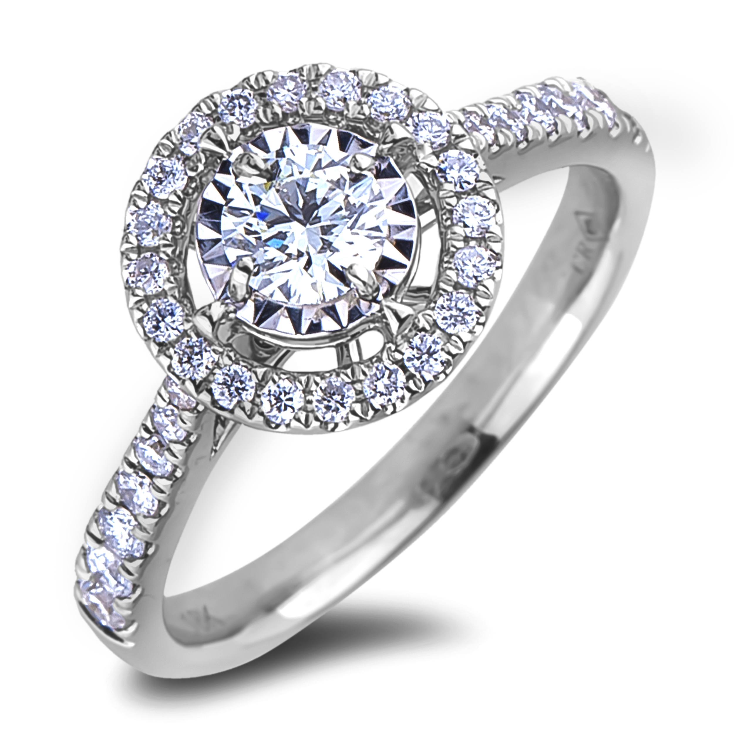 Diamond Engagement Halo Rings JS-AFCR1424035 (Rings)