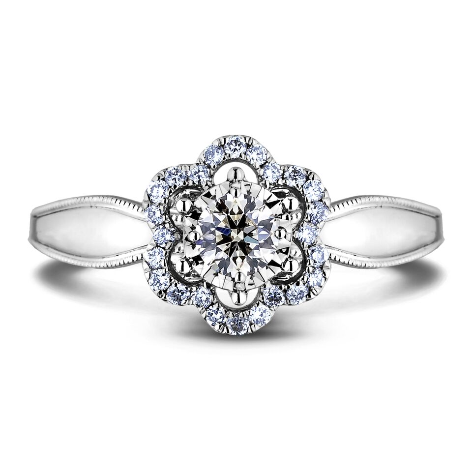 Diamond Engagement Halo Rings AFDR1025L-F152 (Rings)