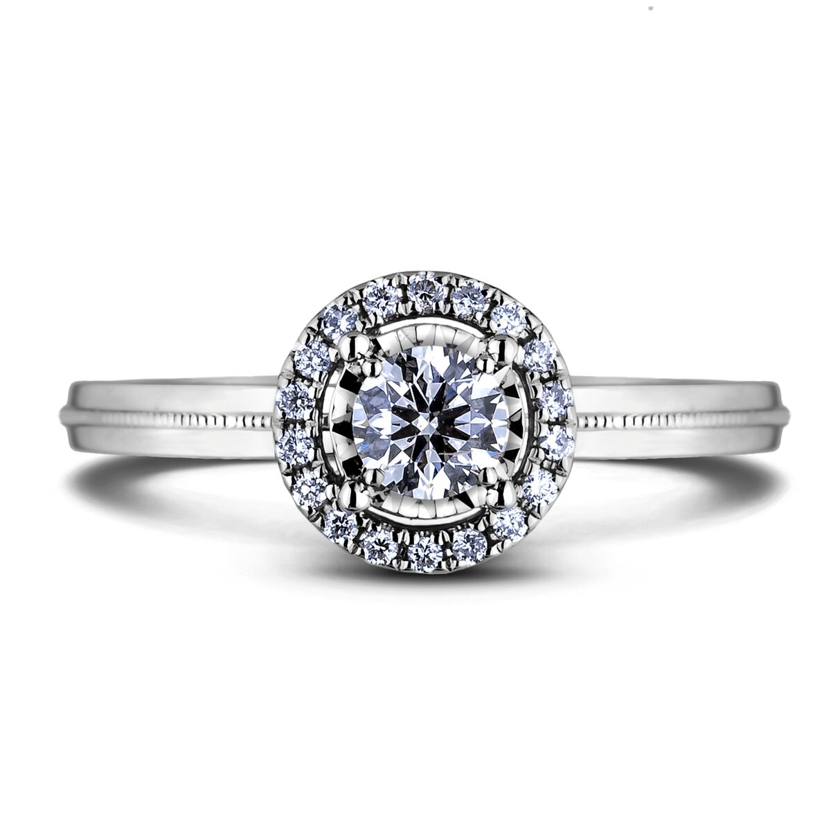 Diamond Engagement Halo Rings AFDR1024L-F151 (Rings)