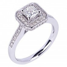 Diamond Engagement Halo Rings SGR907P (Rings)