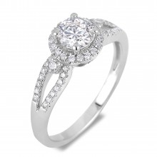 Diamond Engagement Halo Rings VRE00025W (Rings)