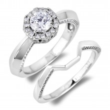 Diamond Engagement Halo Rings SGR1082 (Rings)