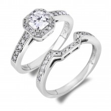 Diamond Engagement Halo Rings SGR1084 (Rings)